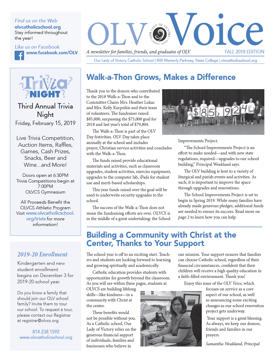 Check Out the Newest Issue of the OLV Voice